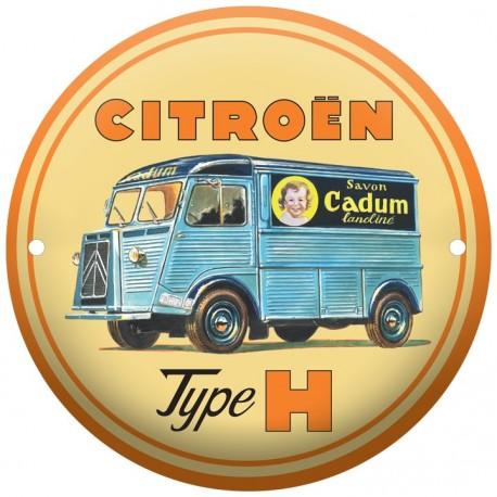 plaque émaillée ronde diametre 15 cm : Citroën Type H