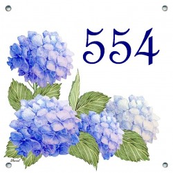 Plaque émaillée 15 x 15 cm : Décor Hortensias bleus