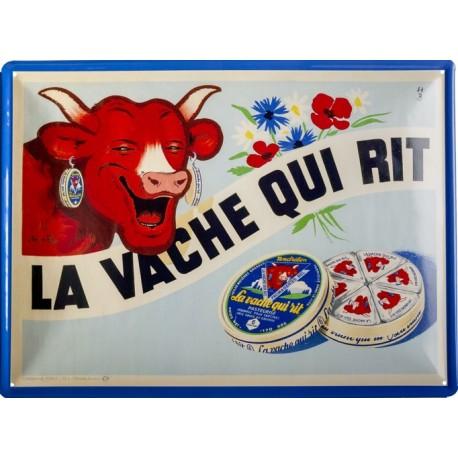 plaque métal publicitaire 30x40cm bombée en relief  : LA VACHE QUI RIT Boite