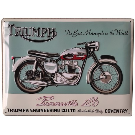 plaque métal 30x40cm bombée avec relief  : TRIUMPH BONNEVILLE