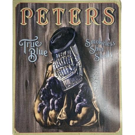 Plaque métal décorative 40 x 32 cm plate : PETERS TRUE BLUE SMOKELESS SHOT SHELLS