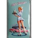Plaque métal publicitaire en relief bombée 20 x 30 cm : 50' s Diner