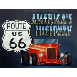 Plaque métal publicitaire 30 x 40 cm : America's Highway