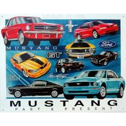 plaque métal publicitaire 30x40cm : Mustang passées et présent