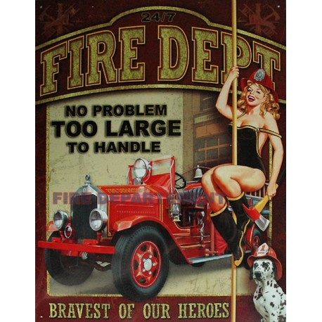 Plaque métal publicitaire 30x40cm plate : US Fire Department