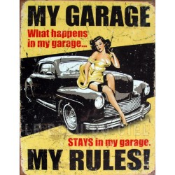Plaque métal publicitaire 30x40 cm plate : My garage, my rules !