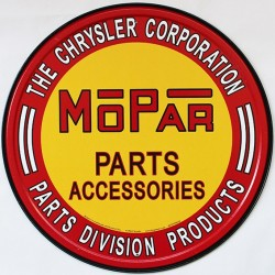 Plaque métal publicitaire diamètre 30 cm plate : Mopar Parts Accessories