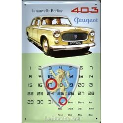 Calendrier métal  publicitaire 20x30cm bombé en relief : Peugeot 403