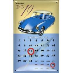 Calendrier métal publicitaire 20x30cm bombé en relief : Citroën DS19