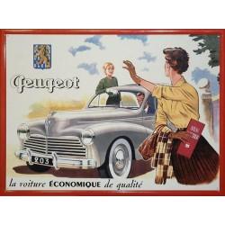 Plaque métal publicitaire en relief 30 x 40 cm : Peugeot 203