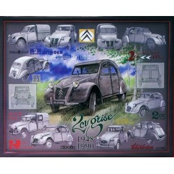 plaque métal publicitaire 30x40cm relief : 2CV collage 1948-1990