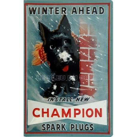 Plaque métal publicitaire bombée en relief 20x30cm : Champion