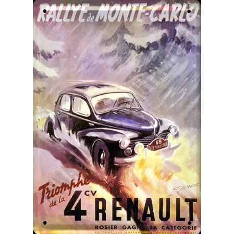 Plaque métal publicitaire 30 x 40 cm : Renault 4cv, Monte Carlo