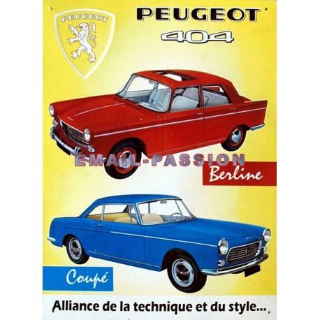 Plaque métal publicitaire 30x40 cm en relief  : Peugeot 404