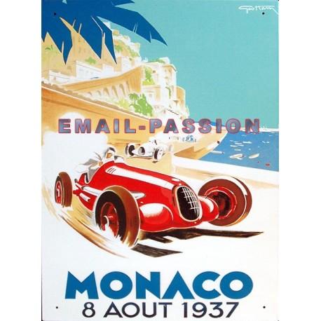 Plaque métal publicitaire bombée 30 x 40 cm : Monaco Grand Prix 1937