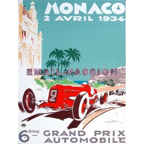 Plaque métal publicitaire 30 x 40 cm : Monaco Grand Prix 1934