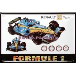 Plaque métal publicitaire bombée 30 x 40 cm : Renault Formule 1 Team