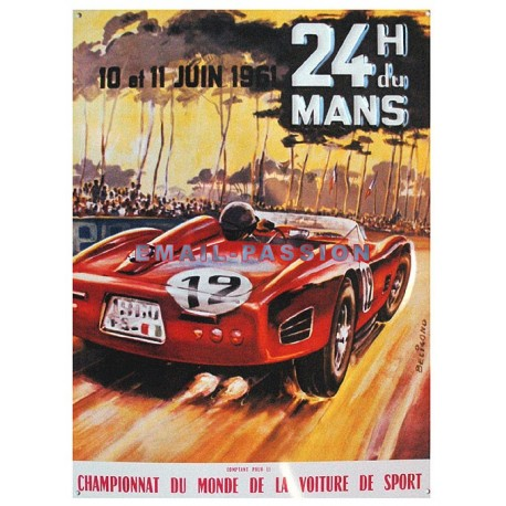 Plaque métal publicitaire en relief 30 x 40 cm : 24h du Mans 1961