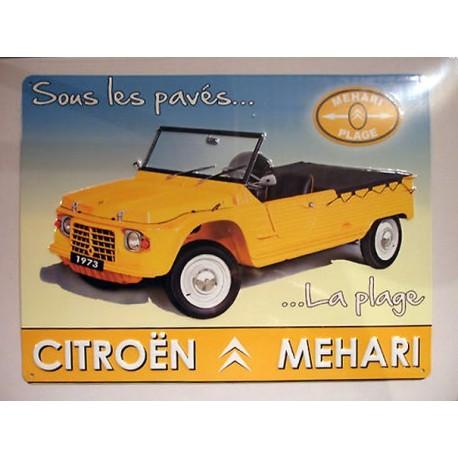Plaque métal publicitaire en relief bombée 30 x 40 cm : Citroën Méhari