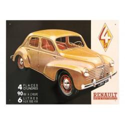 Plaque métal publicitaire bombée 30 x 40 cm : Renault 4cv