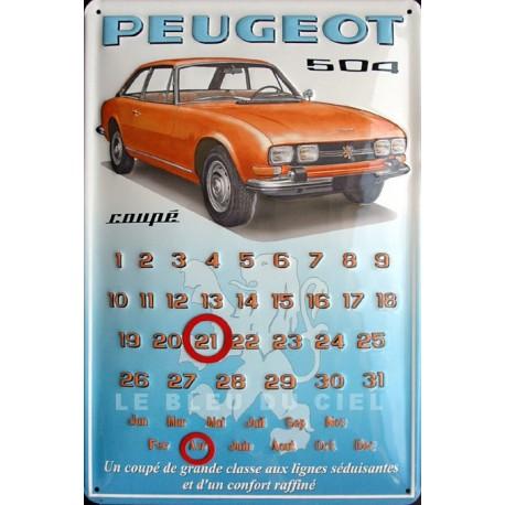 Calendrier métal publicitaire 20x30 cm bombé en relief : 504 Peugeot coupé