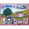 Plaque en relief 30 x 40 cm : station service AZUR