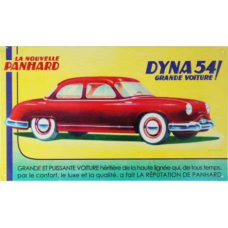 Plaque métal publicitaire en relief 23 x 38 cm : Panhard Dyna 54
