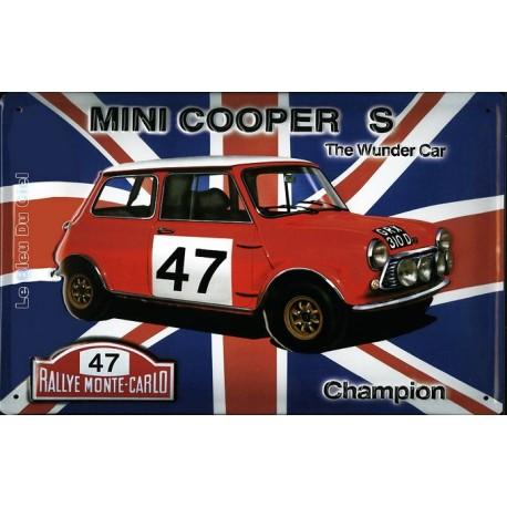 Plaque métal publicitaire 20x30cm bombée relief : Mini Cooper S champion.