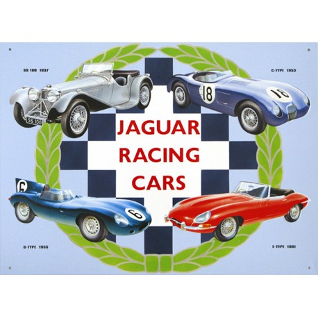 Plaque métal publicitaire 30x40cm : Jaguar Racing Cars