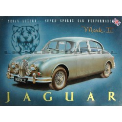 plaque publicitaire métal relief : Jaguar mark II