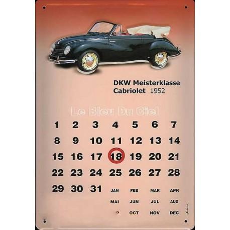 Calendrier métal publicitaire 20x30cm bombé en relief : Volkswagen DKW 1952