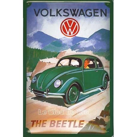 Plaque publicitaire 20x30cm bombée en relief : Volkwagen the Beetle