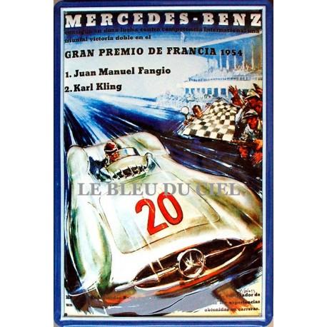 Plaque métal publicitaire 20x30cm bombée en relief : Mercedes grand prix 1954