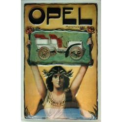 plaque métal publicitaire 20x30cm bombée en relief : Opel, motorvagen