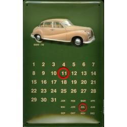 Calendrier métal publicitaire 20x30cm bombé en relief : BMW V8.