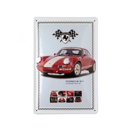plaque métal publicitaire 20x30cm bombée en relief :  Porsche 911