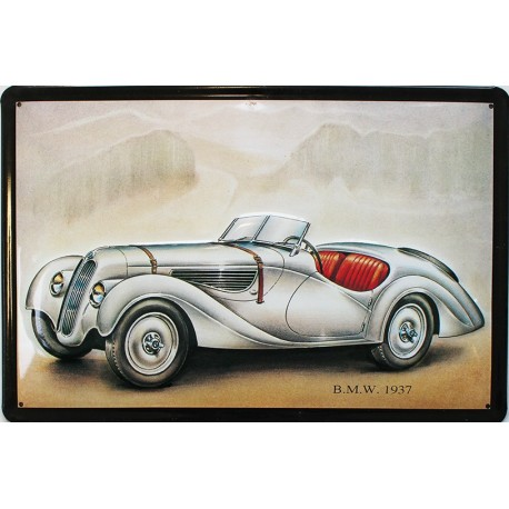Plaque métal publicitaire 20x30cm bombée en relief : BMW 1937