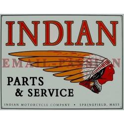Plaque métal publicitaire 30x40cm plate : INDIAN & SERVICE
