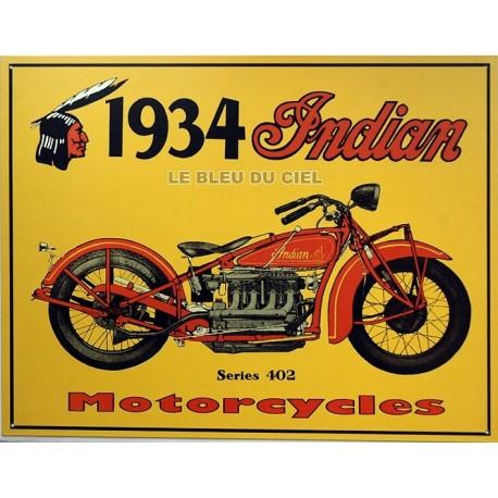 Plaque métal publicitaire 30x40cm plate : INDIAN 1934