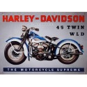 Plaque métal publicitaire 30.40cm relief : Harley Davidson 45 Twin WLD