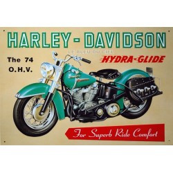 Plaque publicitaire 30x40cm relief : Harley Davidson the 74 OHV