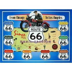Plaque métal publicitaire 30x40cm relief : Route US66.