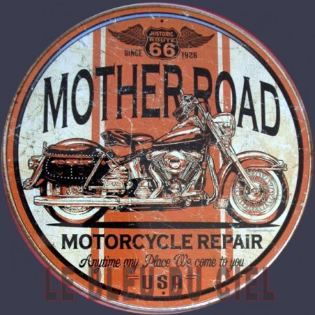 Plaque métal publicitaire diam 30 cm plate:  Mother Road motorcycle repair