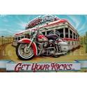 Plaque métal publicitaire embossée 24x36cm : Harley Get your kicks