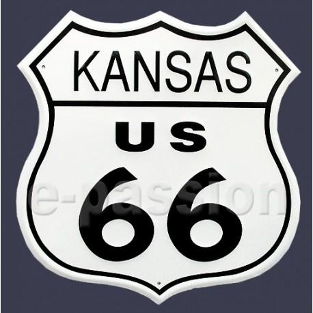 Plaque métal publicitaire 30x30cm relief : route US66 Kansas