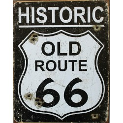 Plaque publicitaire metal 30x40cm plate :  Historic Old Route 66 Vintage.