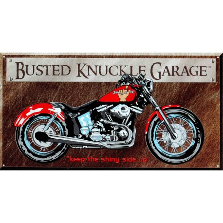 Plaque métal publicitaire plate 21x41cm : Busted knuckle GARAGE