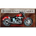 Plaque métal publicitaire plate 21x41cm : Busted knuckle GARAGE