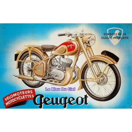 Plaque métal publicitaire 30x40cm plate en relief : Motocyclette Peugeot