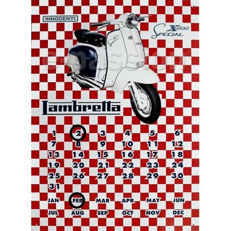 Calendrier métal publicitaire 30x40cm relief : Lambretta
